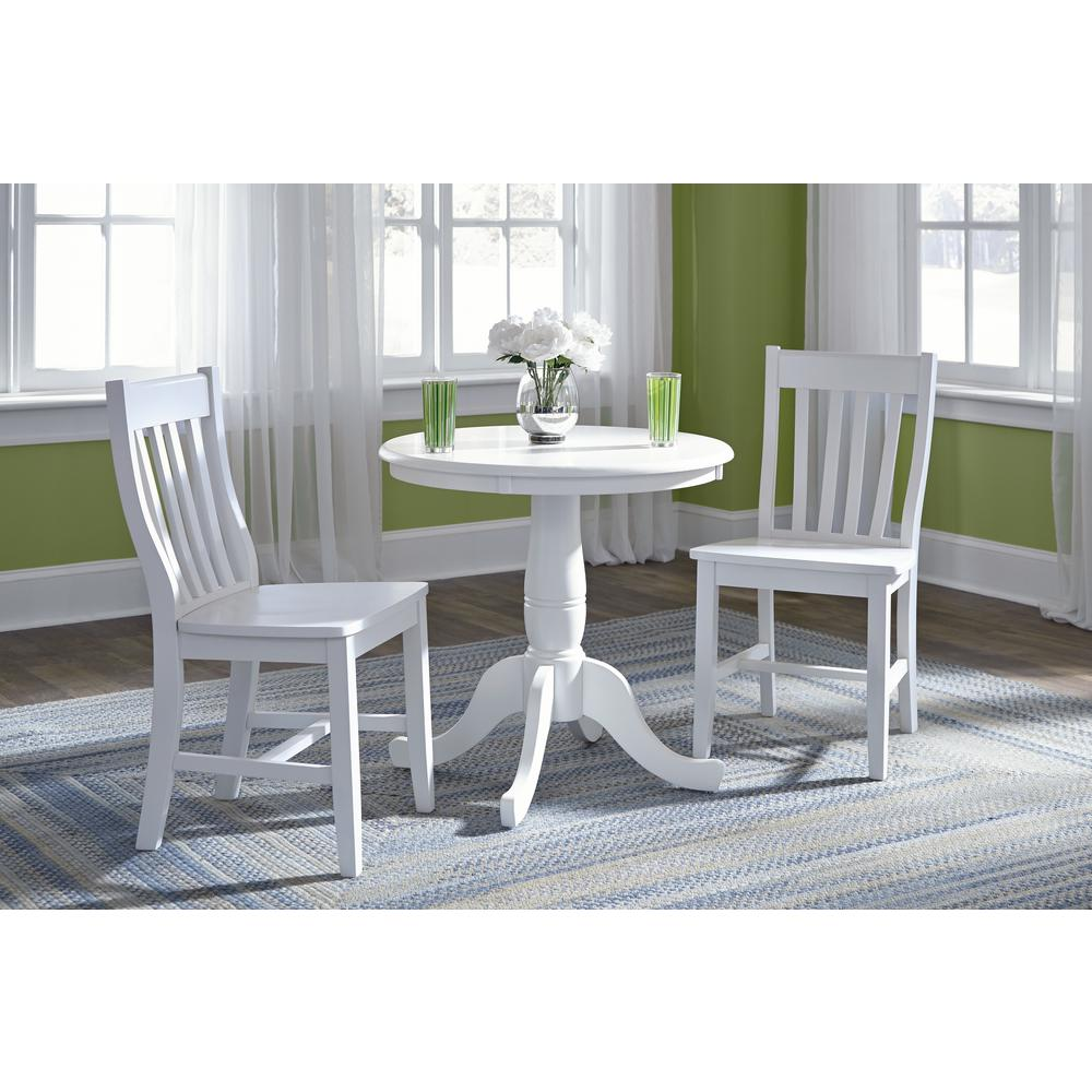 White Wood Dining Set: International Concepts Hampton 3-Piece White Solid Wood