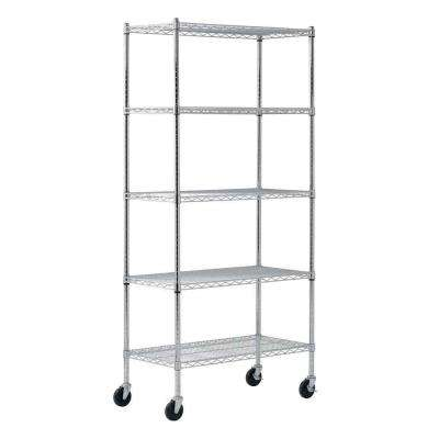 72 in. H x 36 in. W x 18 in. D 5 Shelf Chrome Wire Mobile Commercial Shelving Unit