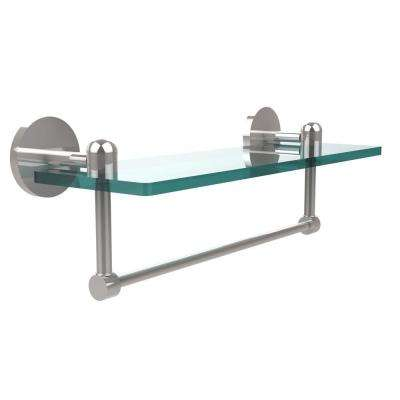 Tango 16 in. L  x 5 in. H  x 5 in. W Clear Glass Vanity Bathroom Shelf with Towel Bar in Polished Chrome