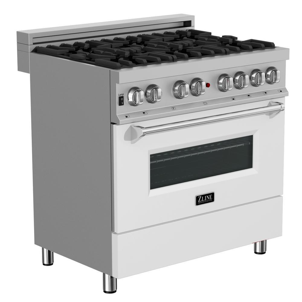 ZLINE Kitchen and Bath ZLINE 36 in. Professional Dual Fuel Range in DuraSnow® Stainless Steel with White Matte Door (RAS-WM-36)