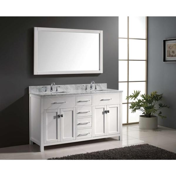 Virtu USA - Caroline 60 in. W Bath Vanity in White with Marble Vanity Top in White with Square Basin and Mirror
