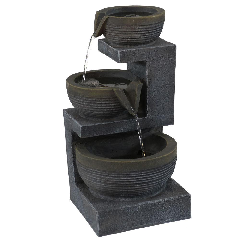 Sunnydaze 3-Tier Cascading Tabletop Indoor Fountain with LED Lights Black