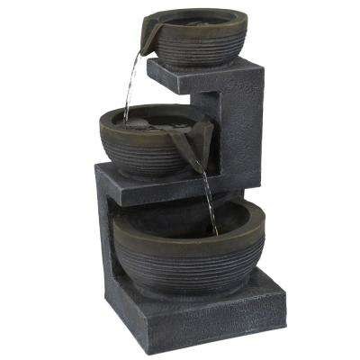 15 in. 3-Tier Basins Tabletop Cascading Fountain with LED Light