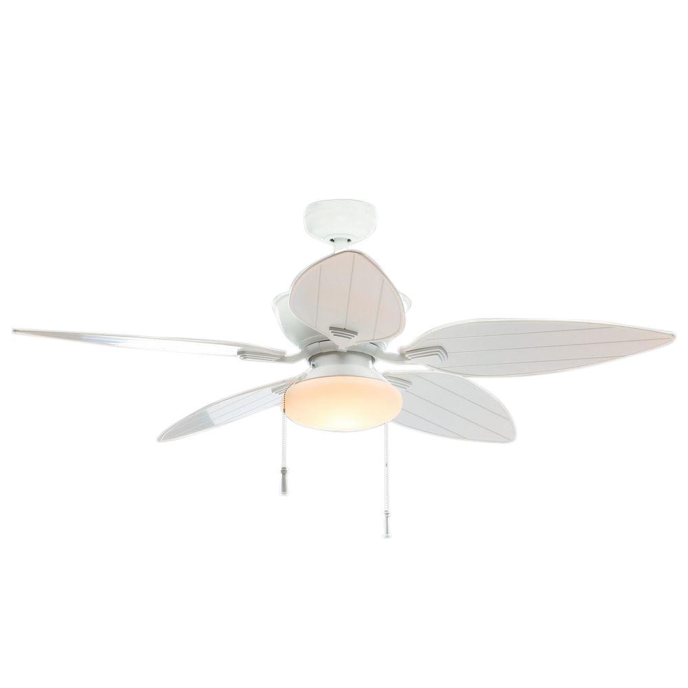 Edgewater II 52 in. Indoor/Outdoor Matte White Ceiling Fan with Light