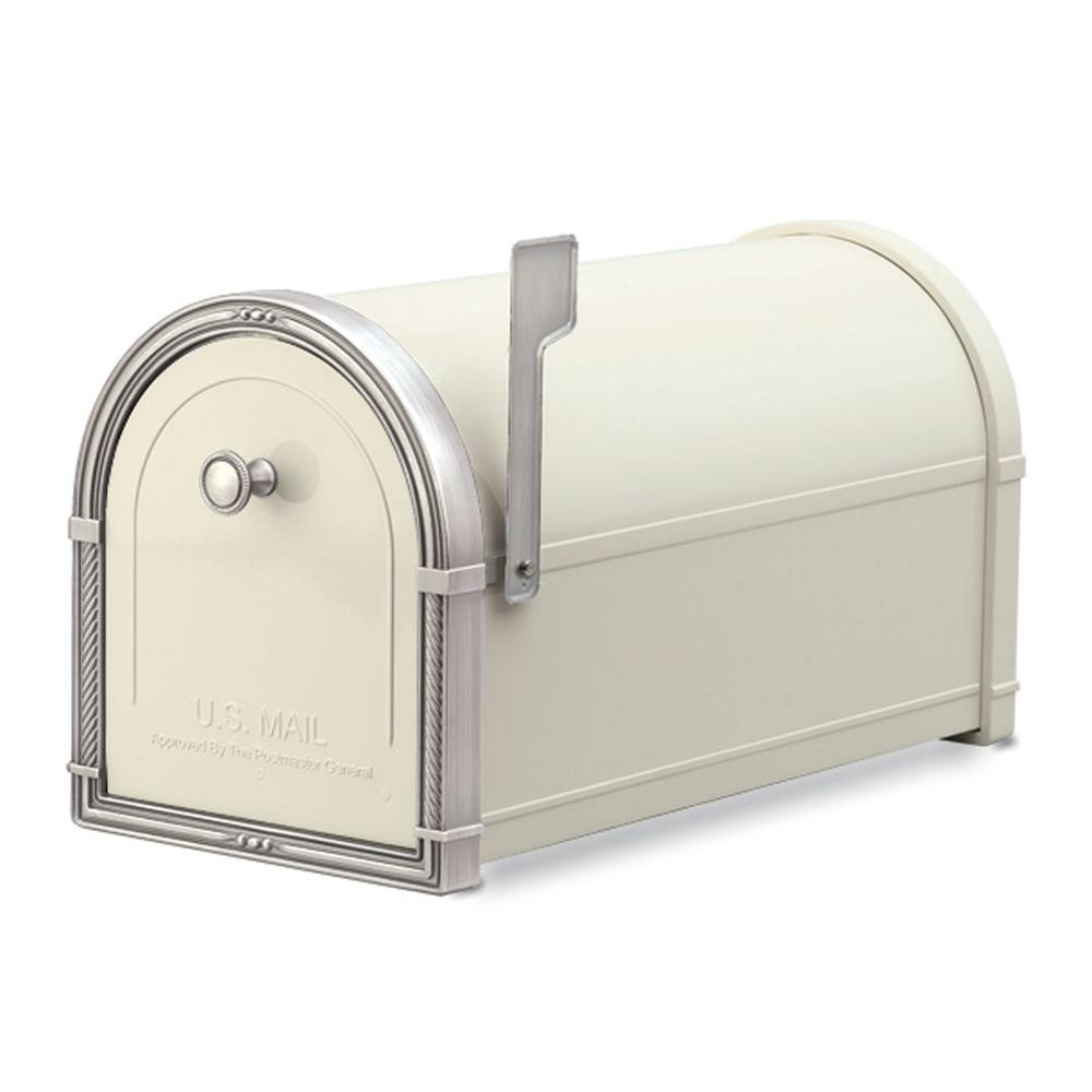 Architectural Mailboxes Coronado Sand with Antique Nickel Accents Post-Mount Mailbox