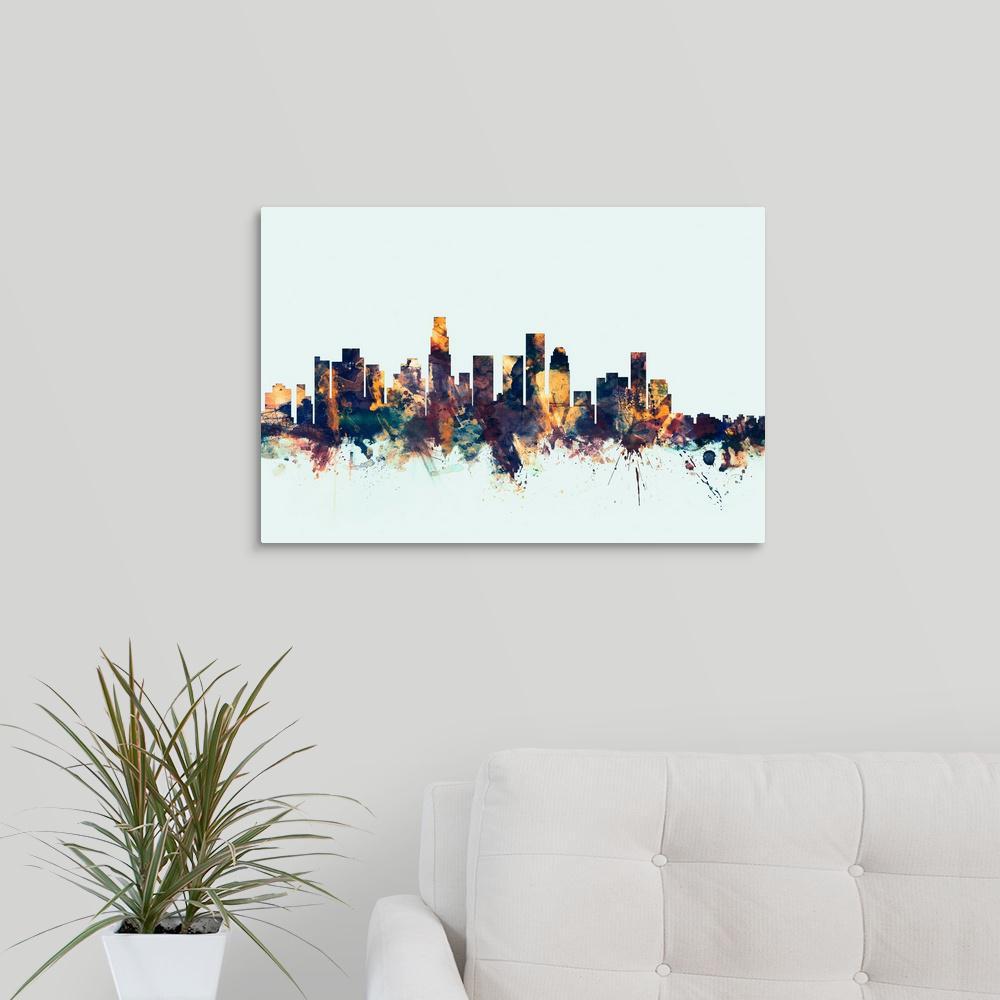 Greatcanvas Los Angeles California Skyline By Michael Tompsett Canvas