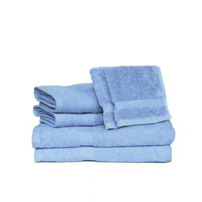Deluxe 6-Piece Cotton Terry Bath Towel Set in Ocean