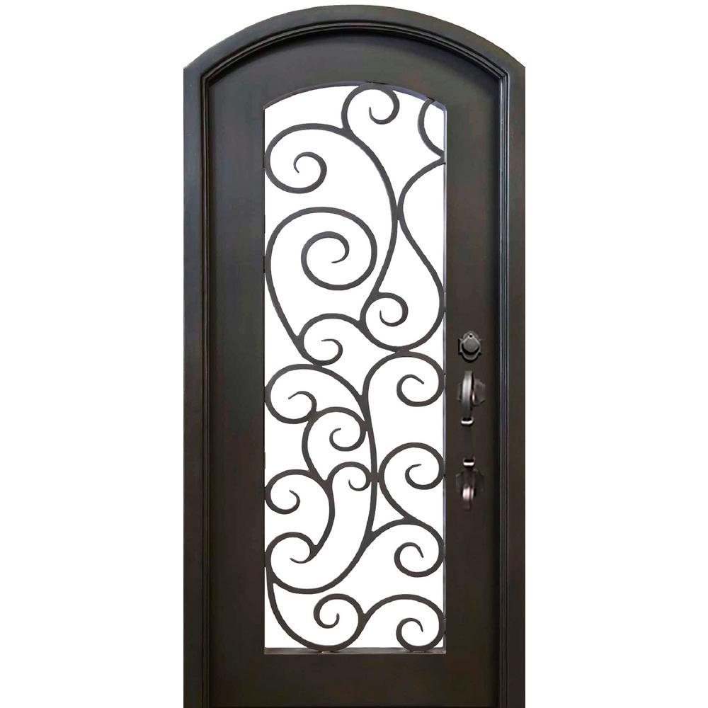 40 in. x 82 in. Eyebrow Lauderdale Dark Bronze Full Lite Painted Wrought Iron Prehung Front Door (Hardware Included)