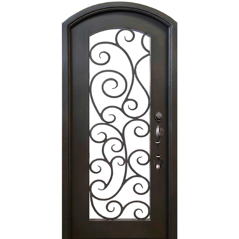 Allure Iron Doors Windows 40 In X 82 In Eyebrow Lauderdale Dark Bronze Full Lite Painted
