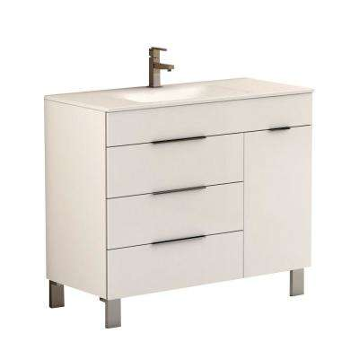 Geminis 39 in. W x 18 in. D x 34 in. H Vanity in White with Porcelain Top in White with White Basin