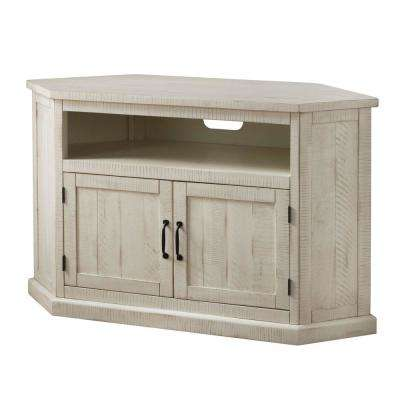 Benjara Rustic Style 49 5 In White Wooden Corner Tv Stand With 2 Door Cabinet Fits Tv S Up To 55 In Bm205963 The Home Depot
