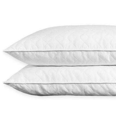 Puredown Quilted White Goose Feather and Down Pillow, King (Set of 2)