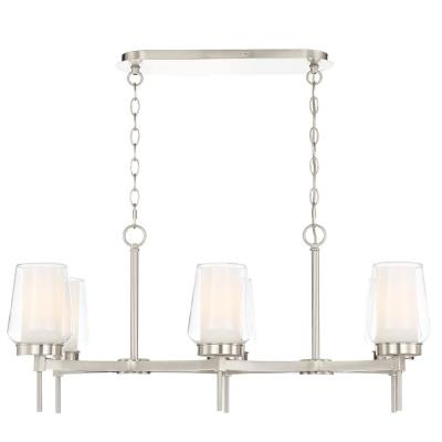 6-Light Brushed Nickel Chandelier with Clear and White Glass Shades