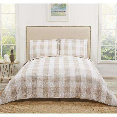 Everyday Brown/Tan Buffalo Plaid Khaki Queen Quilt Set