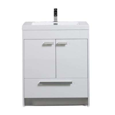 Lugano 30 in. W x 19 in. D x 34 in. H Vanity in White with Acrylic Vanity Top in White with White Basin