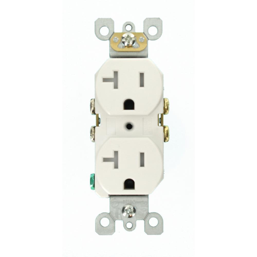 20 Amp Residential Grade Self Grounding Tamper Resistant Duplex Outlet, White