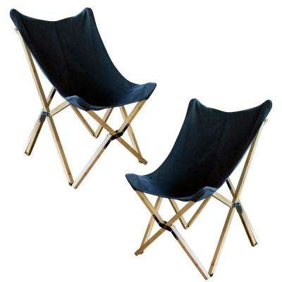 Black Canvas and Bamboo Butterfly Chair (2-Piece Set)