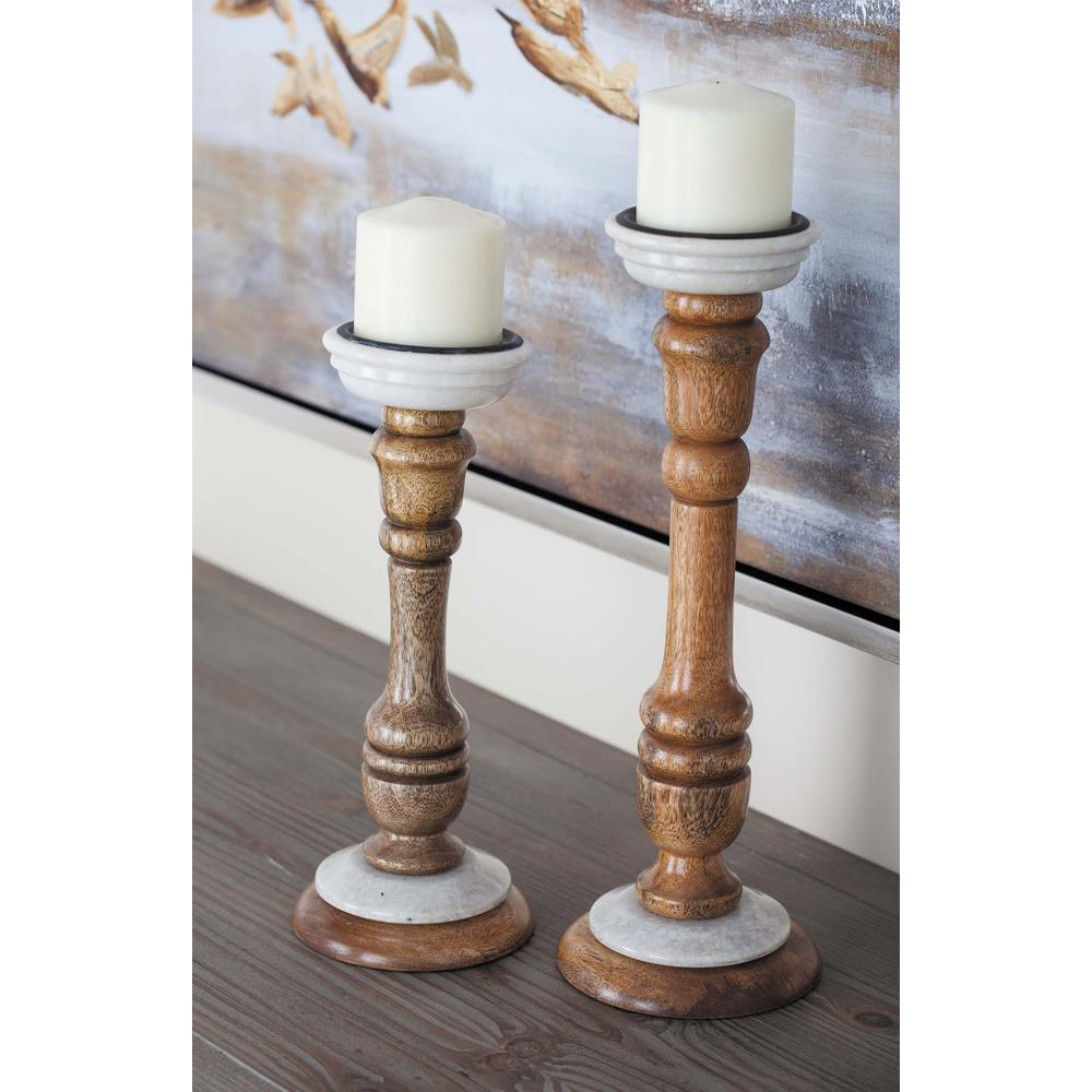 New Traditional Natural Brown Wood and Marble Inverted Dome Candle Holders