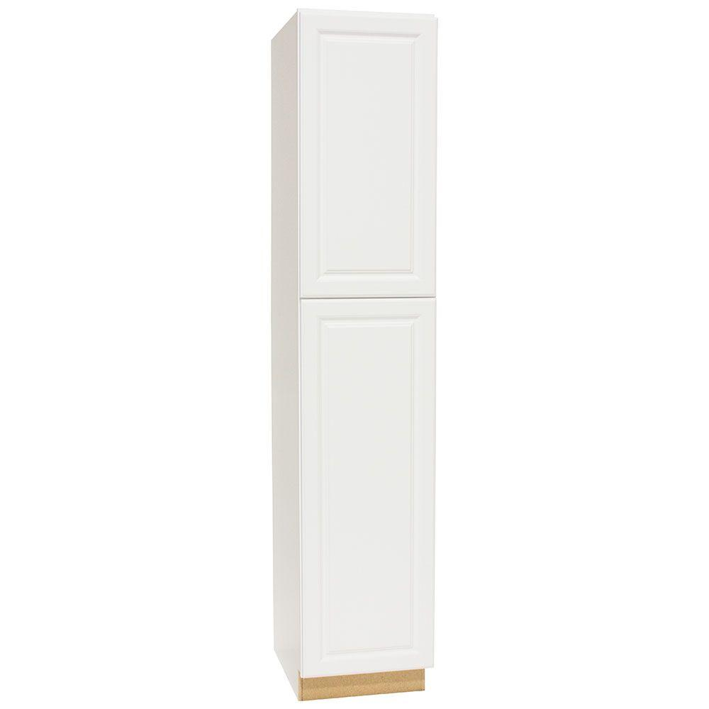 Hampton Bay Assembled 18 X 90 X 24 In Pantry Utility Kitchen Cabinet In Satin White Kp1890 Sw