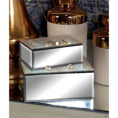 Mirrored Jewelry Boxes with Swan Wing Embellishments (Set of 2)