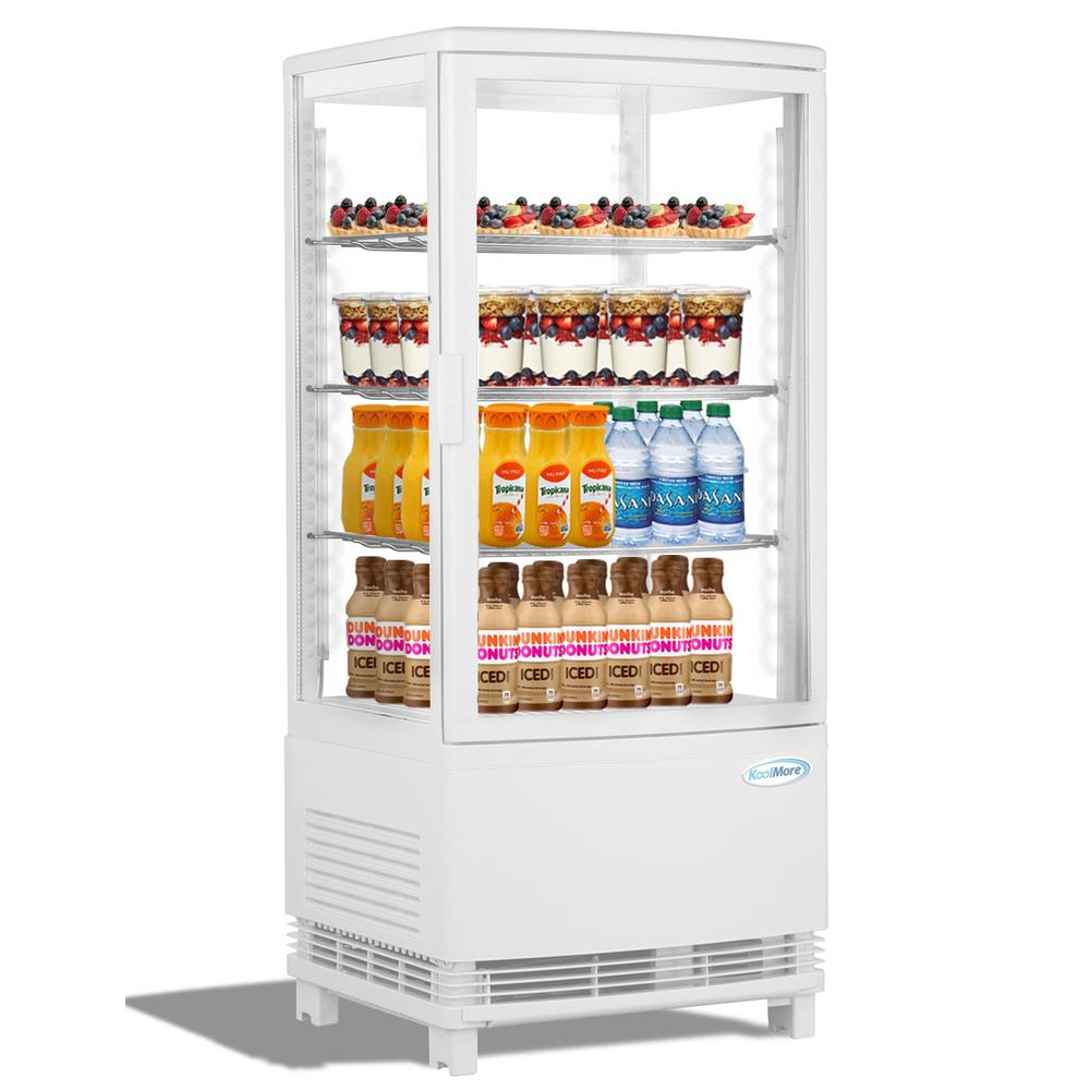 KoolMore 16 in. W 3 cu. Ft. Countertop Commercial Refrigerator Glass Display Beverage Cooler in White