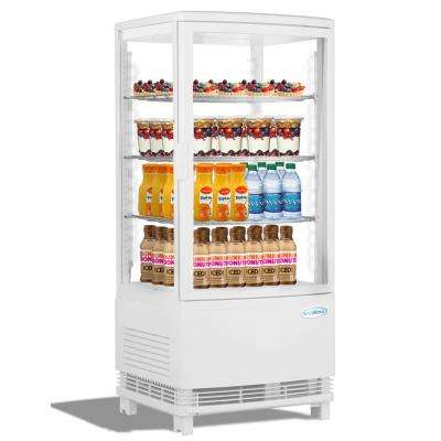 16 in. W 3 cu. Ft. Countertop Commercial Refrigerator Glass Display Beverage Cooler in White