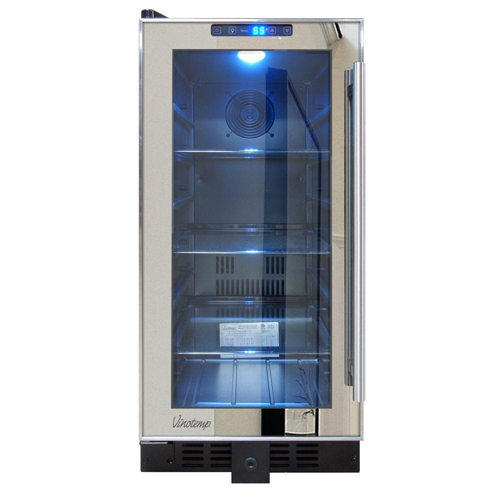 Vinotemp International Mirrored 14.75 in. 68 (12 oz.) Can Cooler,  Black