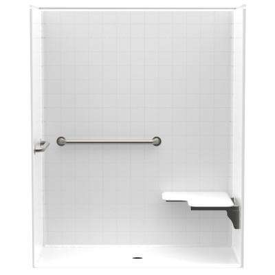 Accessible Smooth Tile AcrylX 60 in. x 34 in. x 74 7/8 in. 1PC Shower Kit, RH Seat, Grab Bars & Center Drain in White