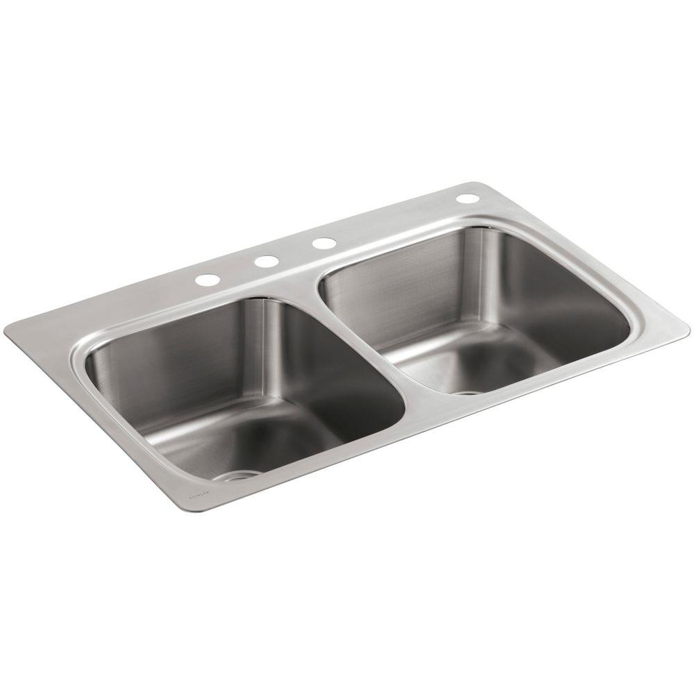 Kohler verse drop in stainless steel 33 in 4 hole double bowl kitchen