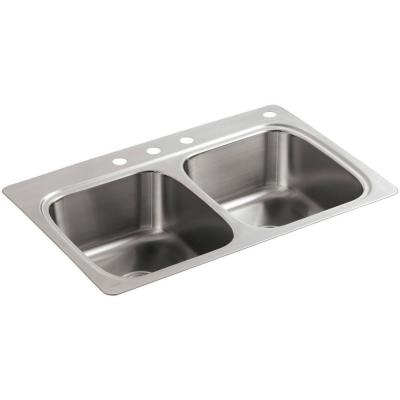 Verse Drop-In Stainless Steel 33 in. 4-Hole Double Bowl Kitchen Sink