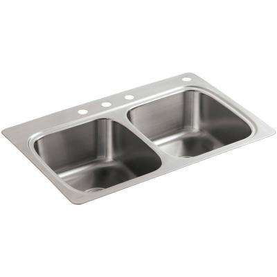 Verse Drop-In Stainless Steel 33 in. 4-Hole Double Basin Kitchen Sink