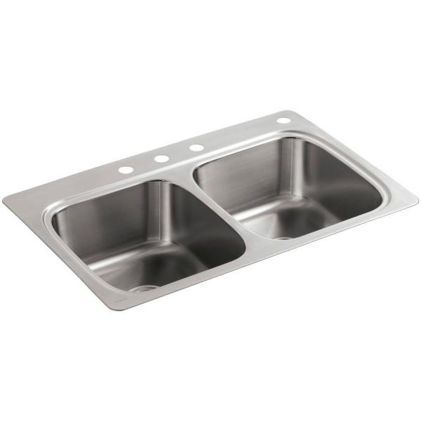 Kohler Verse Drop In Stainless Steel 33 In 4 Hole Double Bowl Kitchen Sink K Rh5267 4 Na The Home Depot