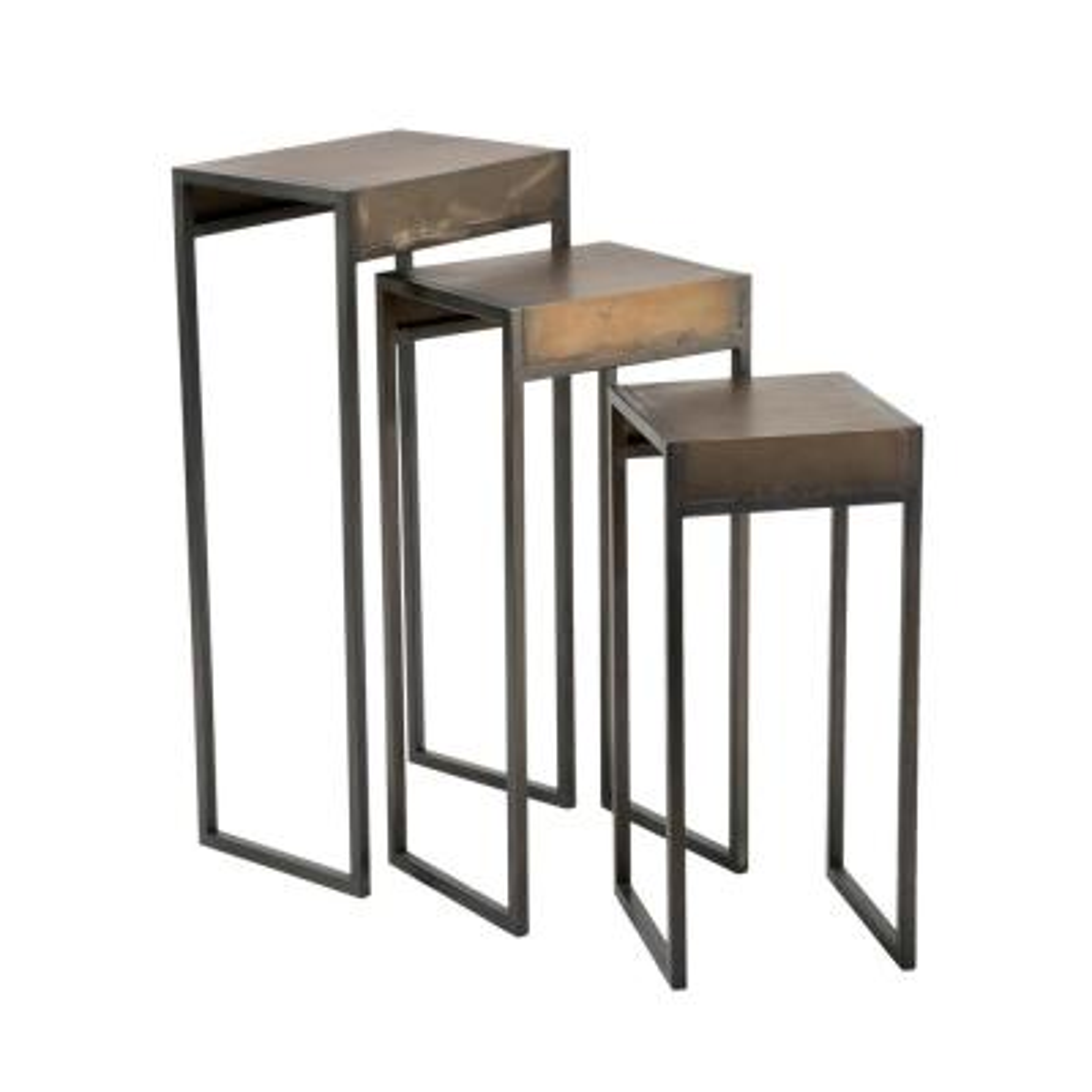 Industrial Bronze Metal Nesting Tables (Set of 3)
