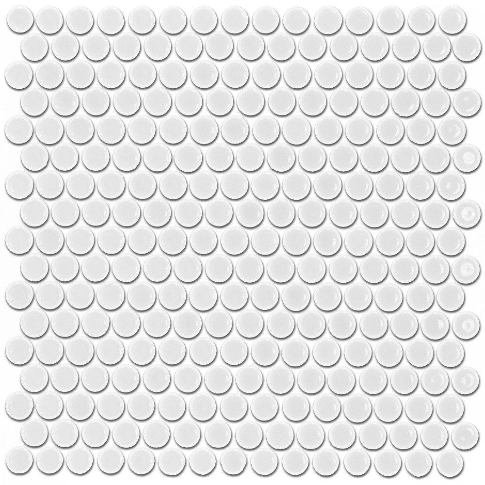 Splashback tile bliss penny round matte white ceramic mosaic floor splashback tile bliss penny round matte white ceramic mosaic floor and wall tile 3 in dailygadgetfo Gallery