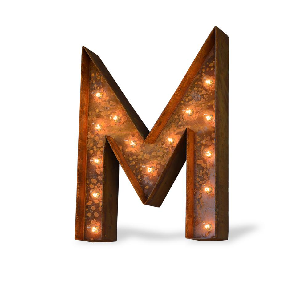 Trekshops 24 in high rusted steel alphabet letter m plug in marquee high rusted steel alphabet letter m plug in marquee lights thecheapjerseys Images