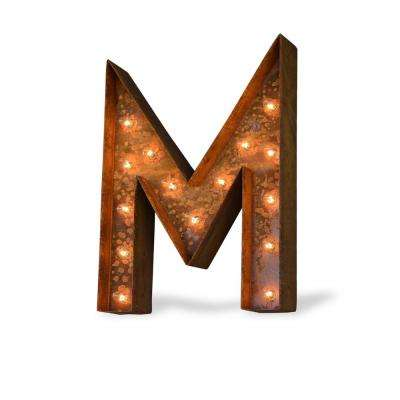 24 in. High Rusted Steel Alphabet Letter M Plug-In Marquee Lights