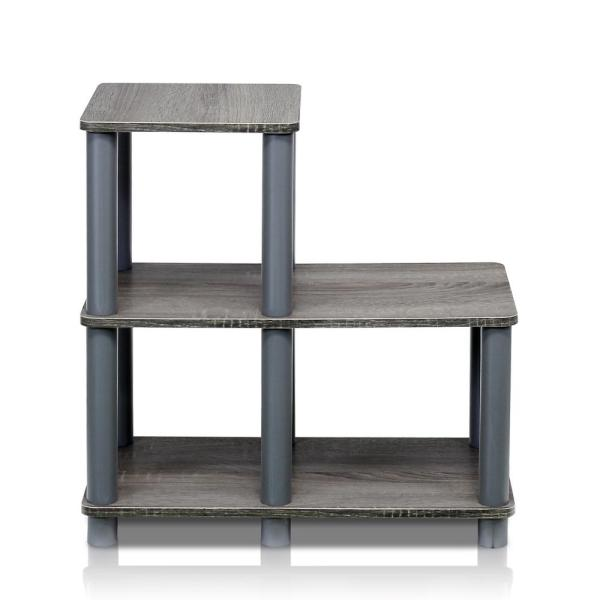 19.9 in. Gray Plastic 3-shelf Etagere Bookcase with Open Back
