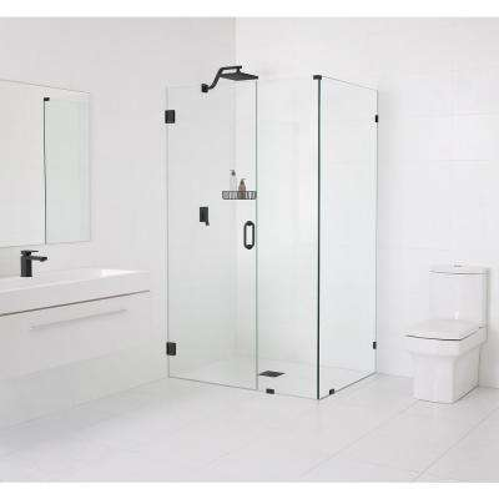 90° Wall-Hinged 46.5 in. x 78 in. x 35.5 in. Frameless Pivot Shower Door in Matte Black
