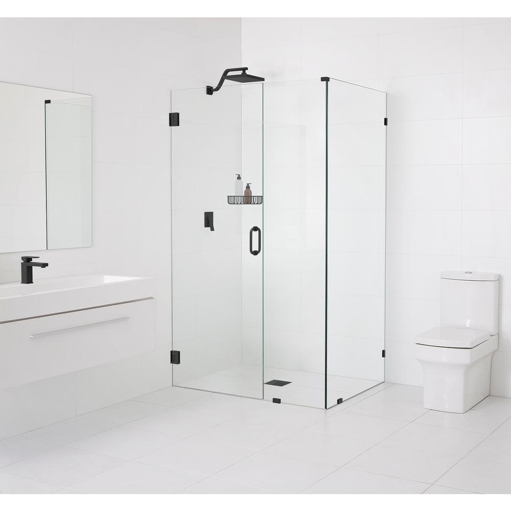 90° Wall-Hinged 59 in. x 78 in. x 34 in. Frameless Pivot Shower Door in Matte Black