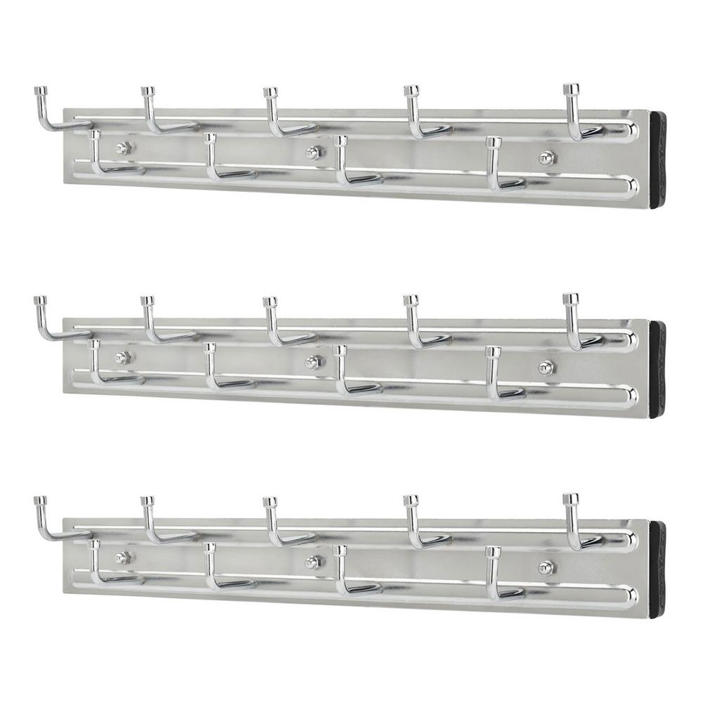 BRC-14CR 14 in. Wall Mounted Pullout Belt Rack, Chrome (3-Pack)