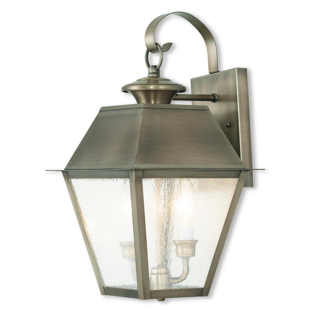 Mansfield 3-Light Vintage Pewter Outdoor Wall Mount Lantern