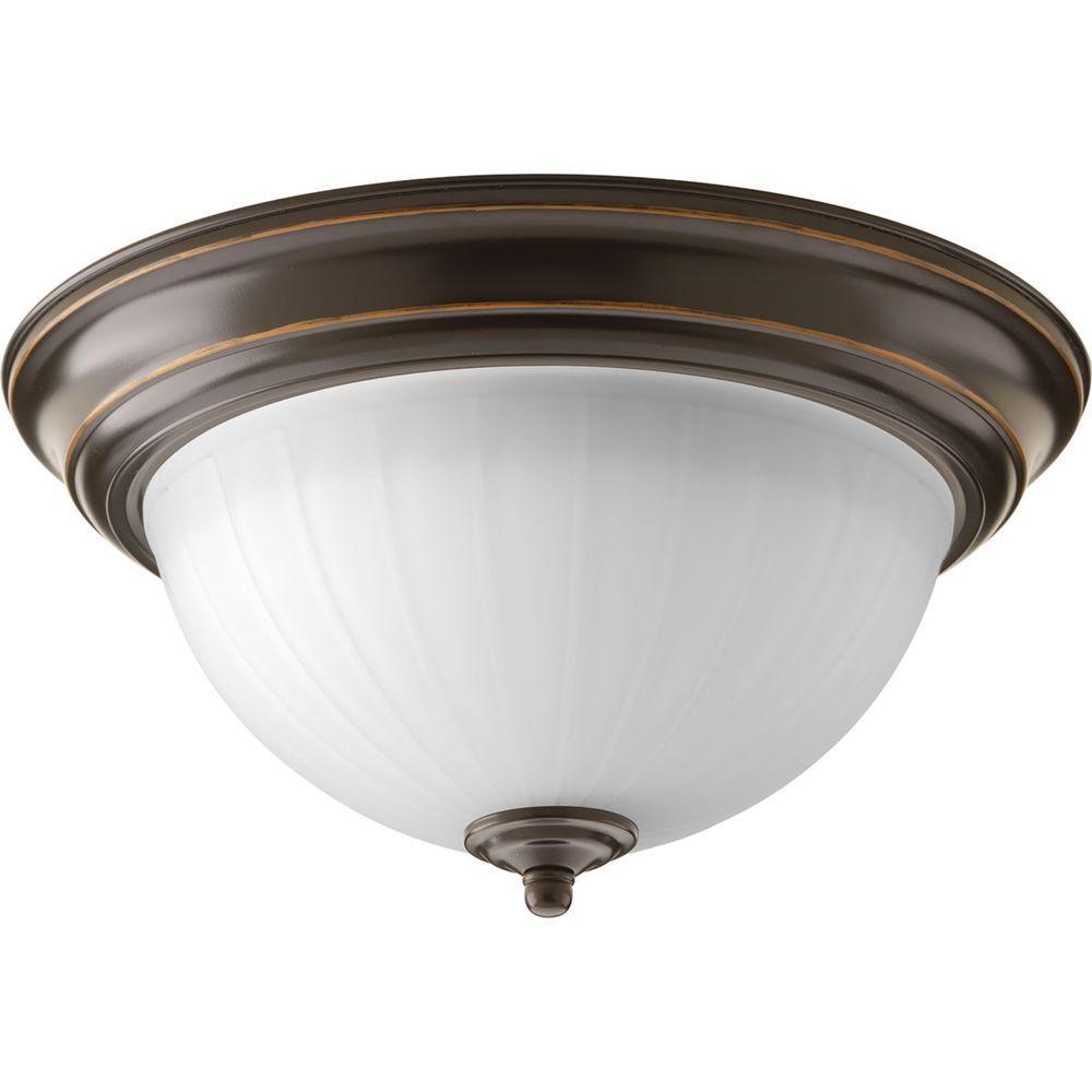 11.375 in. 1-Light Antique Bronze Integrated LED Flushmount