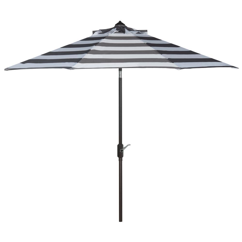 Iris 9 ft. Aluminum Market Auto Tilt Patio Umbrella in Grey/White