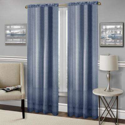 Richmond Navy Polyester Rod Pocket Curtain - 52 in. W x 63 in. L