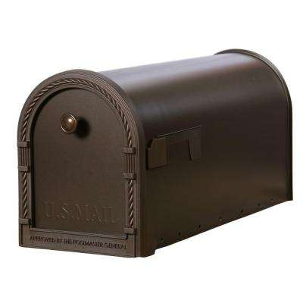 Designer Steel Post-Mount Mailbox with Decorative Frame, Venetian Bronze