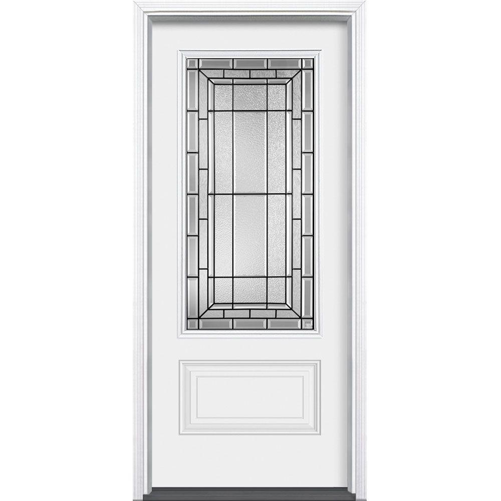 Masonite 36 In X 80 Sequence Primed White 3 4 Rectangle Lite Prehung Security Door With Brickmold