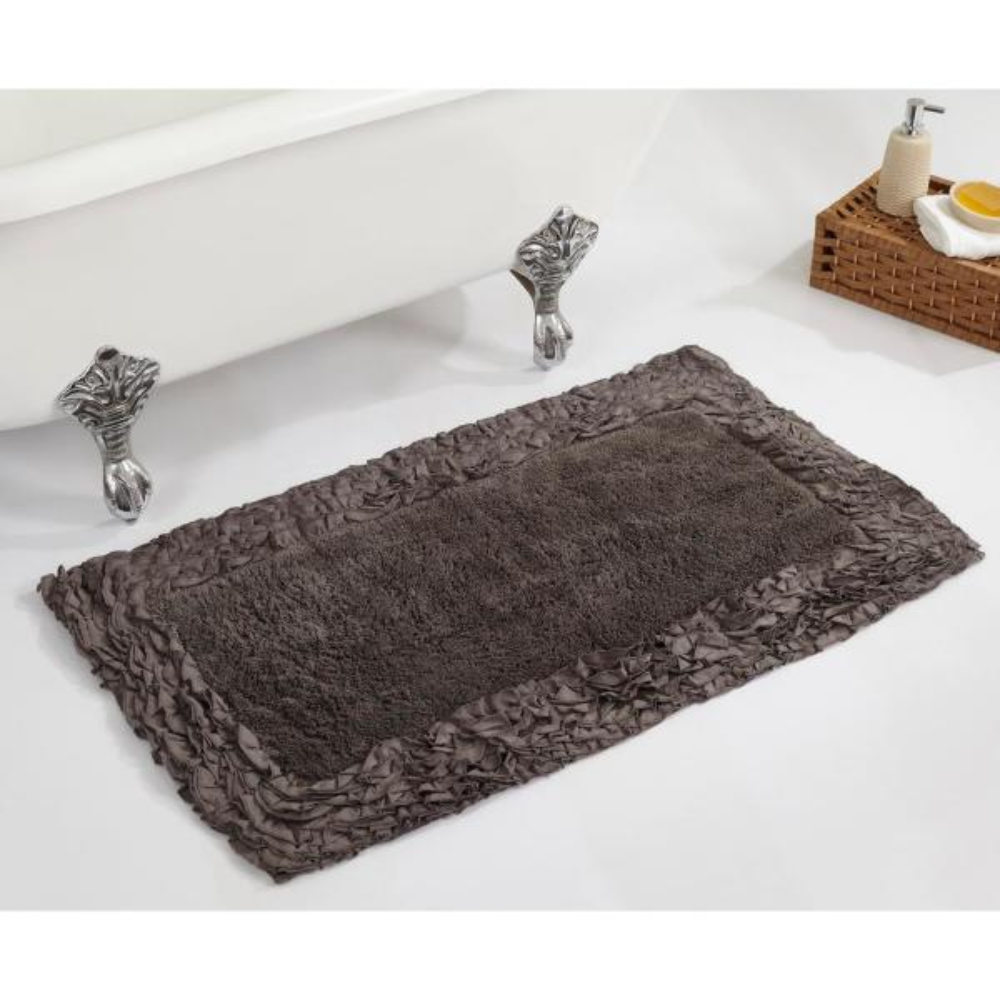 Better Trends Ruffle Grey 21 in. x 34 in. Cotton Bath