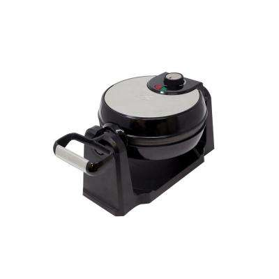 Rotary Single Waffle Black Stainless Steel Belgian Waffle Maker