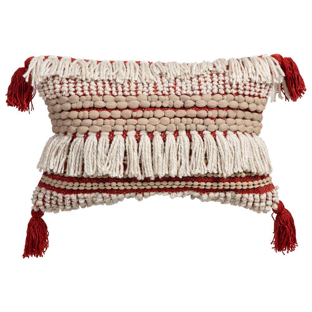 Razan Outdoor Lumbar Throw Pillow with Corner Embellishments