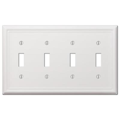 Ascher 4 Gang Toggle Steel Wall Plate - White